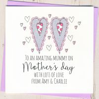 <!-- 027 -->Personalised Glittery Hearts Mother's Day Card