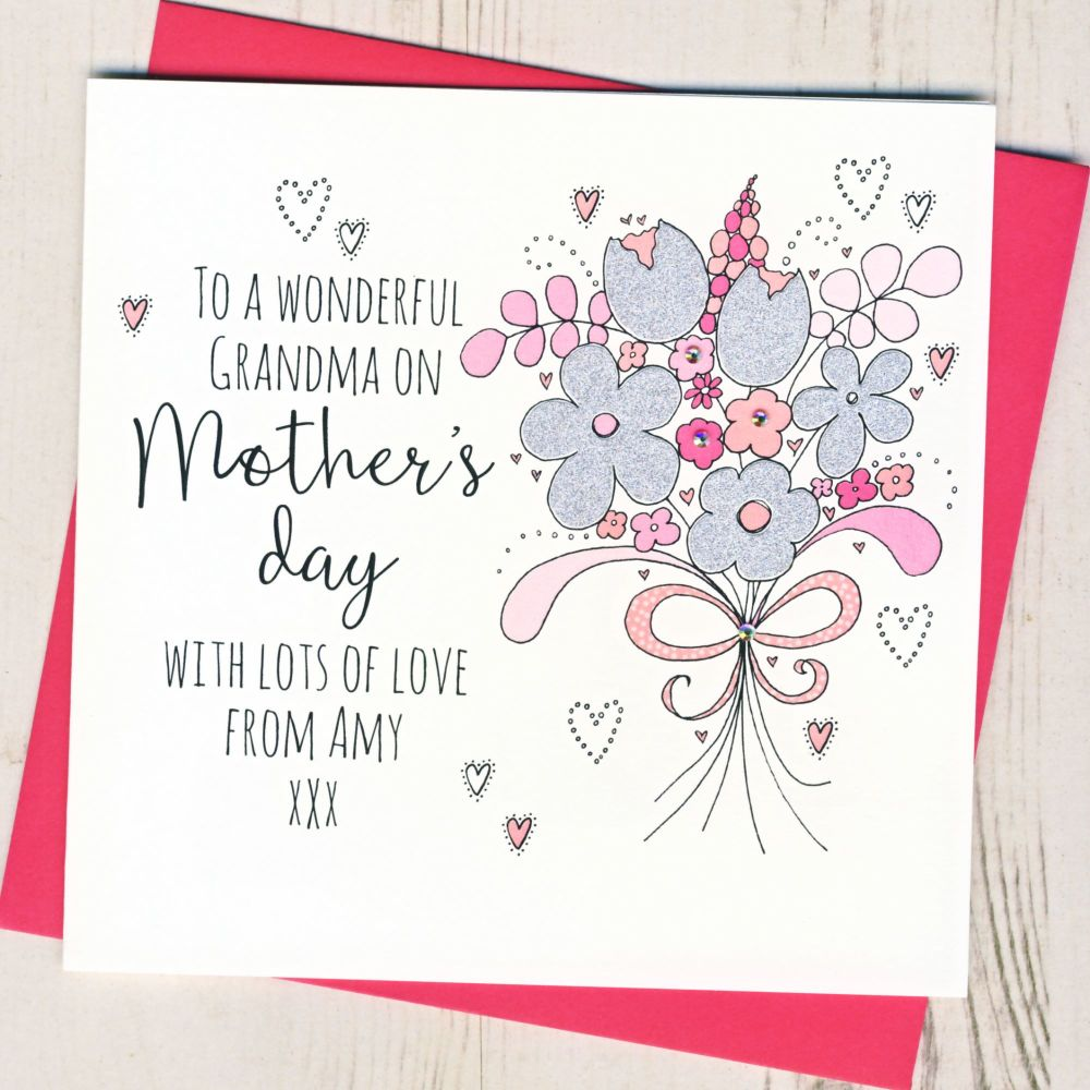 Personalised Glittery Grandma Mother's Day Card