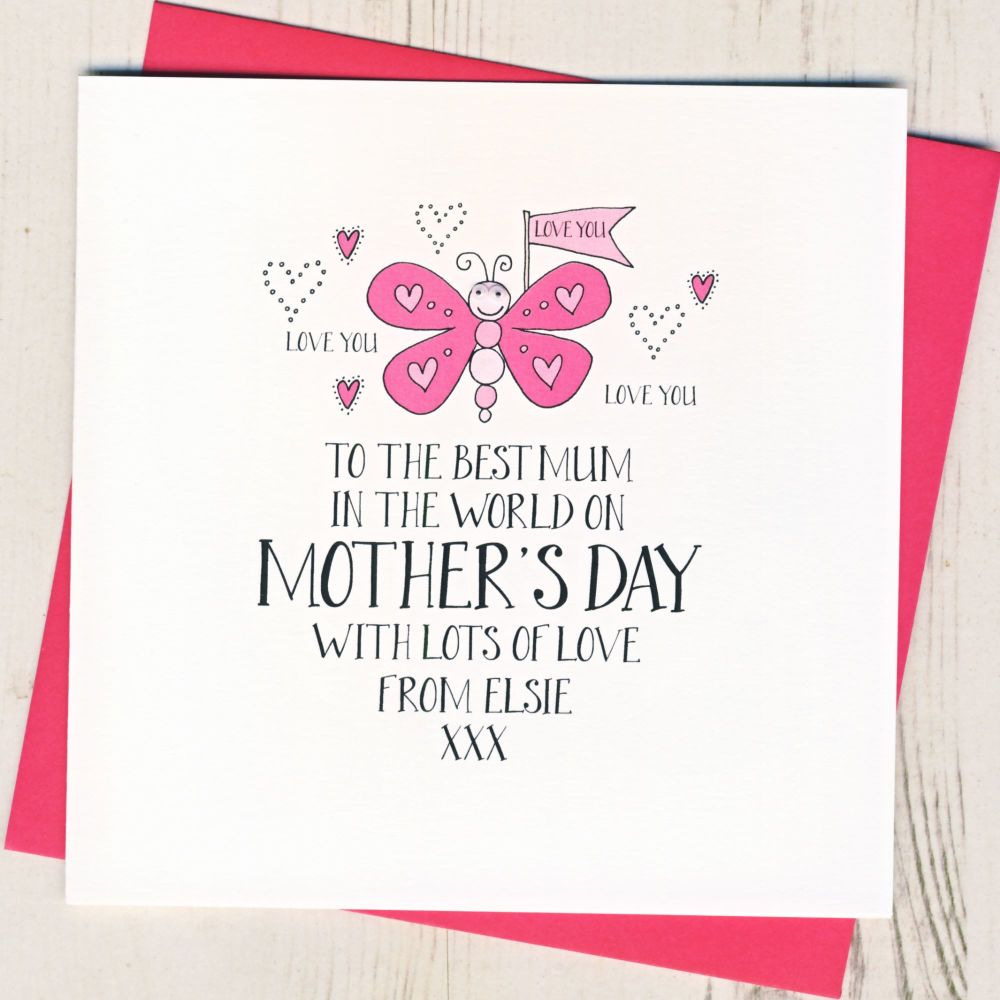 Personalised Wobbly Eyes Ladybird Mother's Day Card