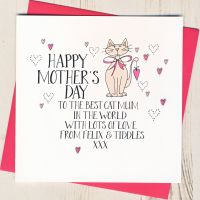 <!-- 024 -->Personalised Wobbly Eyes Mother's Day Card From The Cat