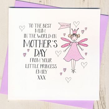 Personalised Little Princess Mother's Day Card