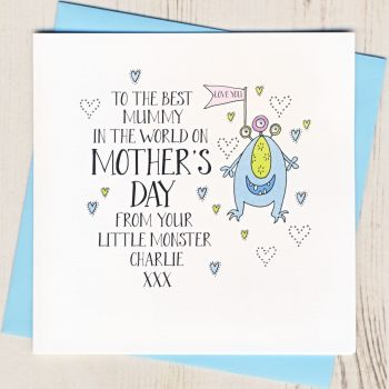 Personalised Monster Mother's Day Card