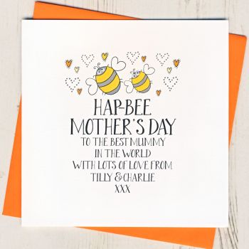 Personalised Hap Bee Mother's Day Card