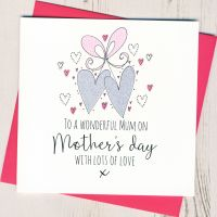 <!-- 006 -->Glittery Hearts Mother's Day Card