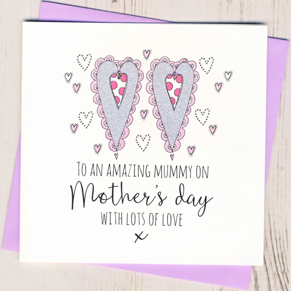 Glittery Hearts Mother's Day Card