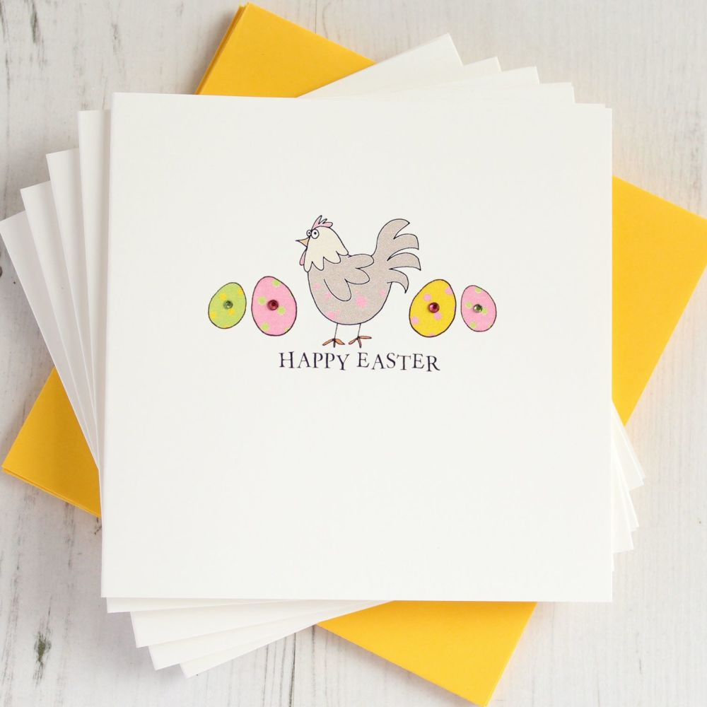 Pack of Five Easter Chicken Cards
