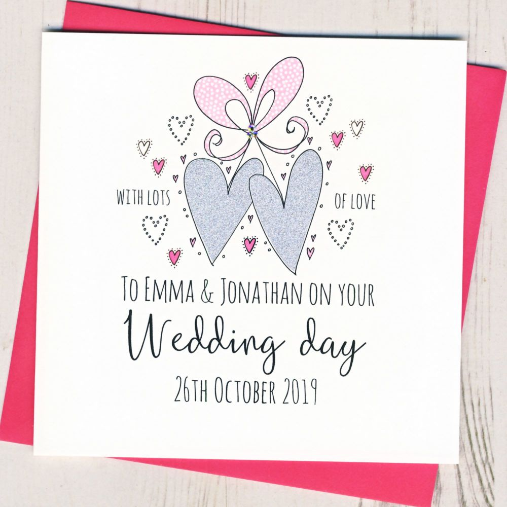<!-- 002 -->Personalised Wedding Hearts Card