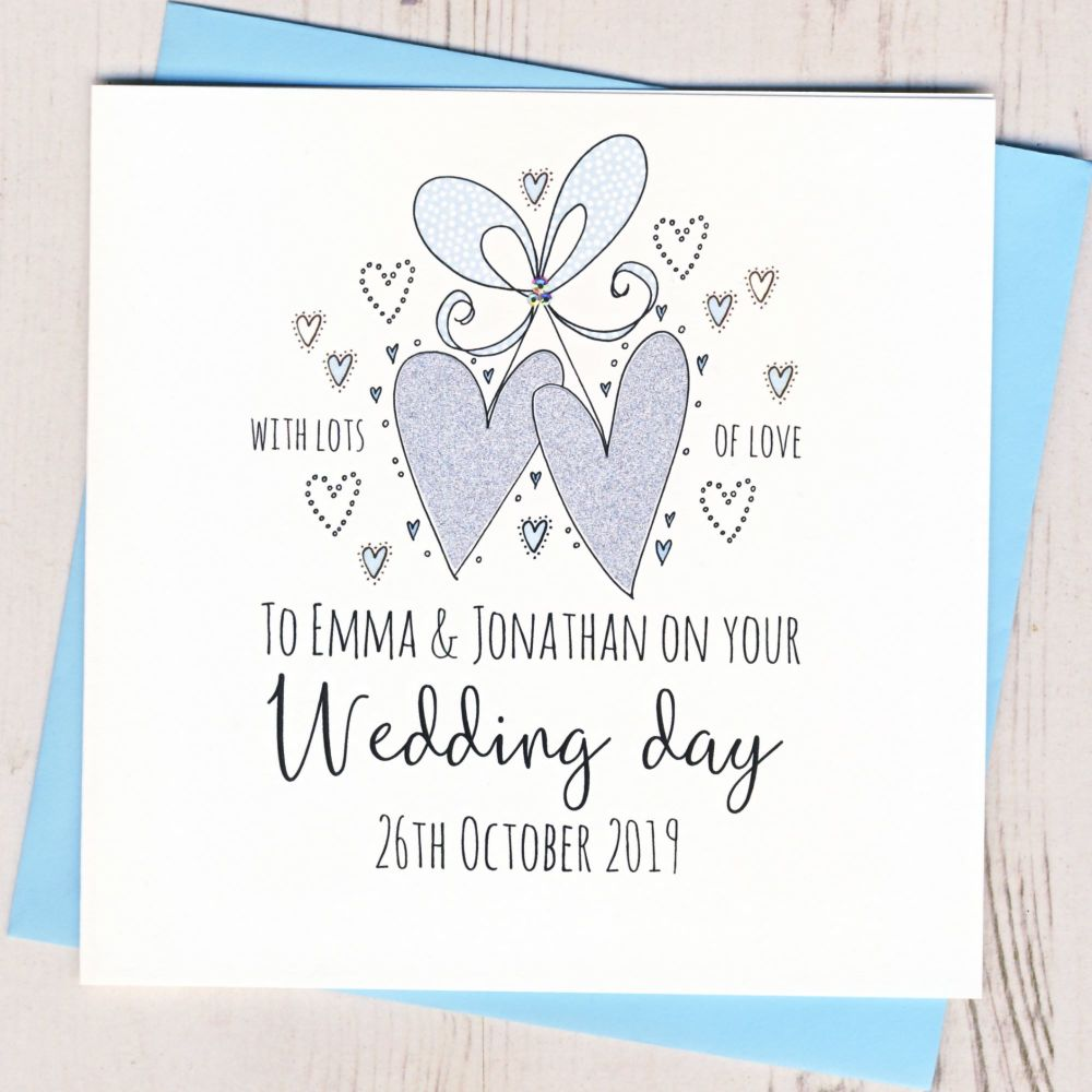 <!-- 002 -->Personalised Wedding Hearts Card