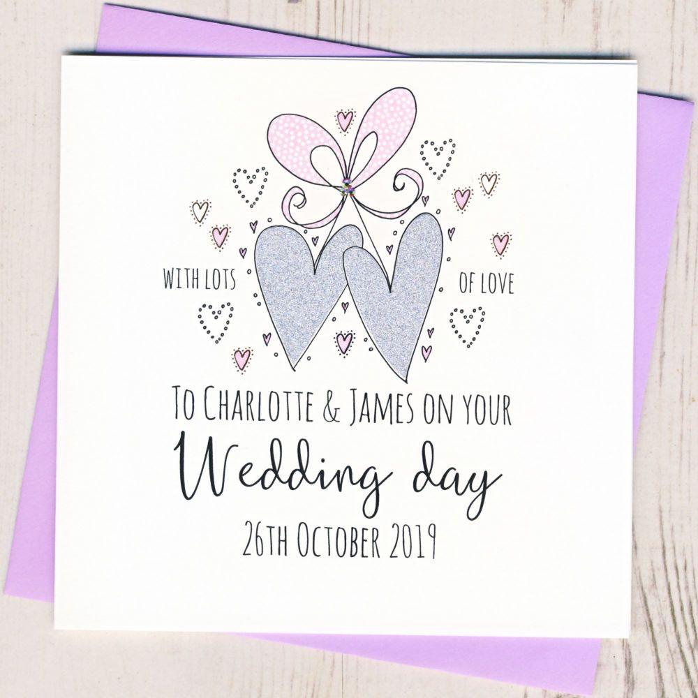 <!-- 001 -->Personalised Wedding Hearts Card