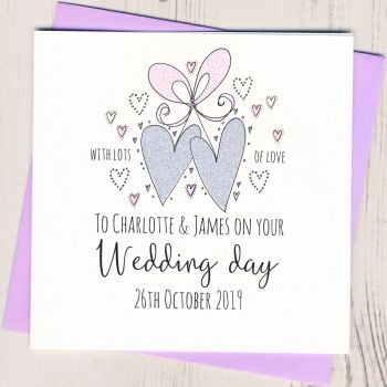Personalised Wedding Hearts Card