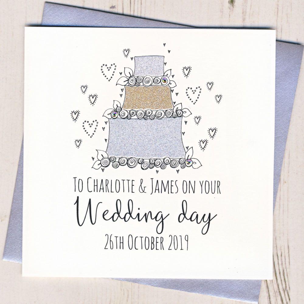 <!-- 004 -->Personalised Wedding Cake Card