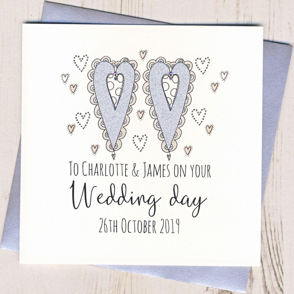 <!-- 004 -->Personalised Wedding Hearts Card