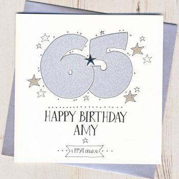Personalised 65th Birthday Card