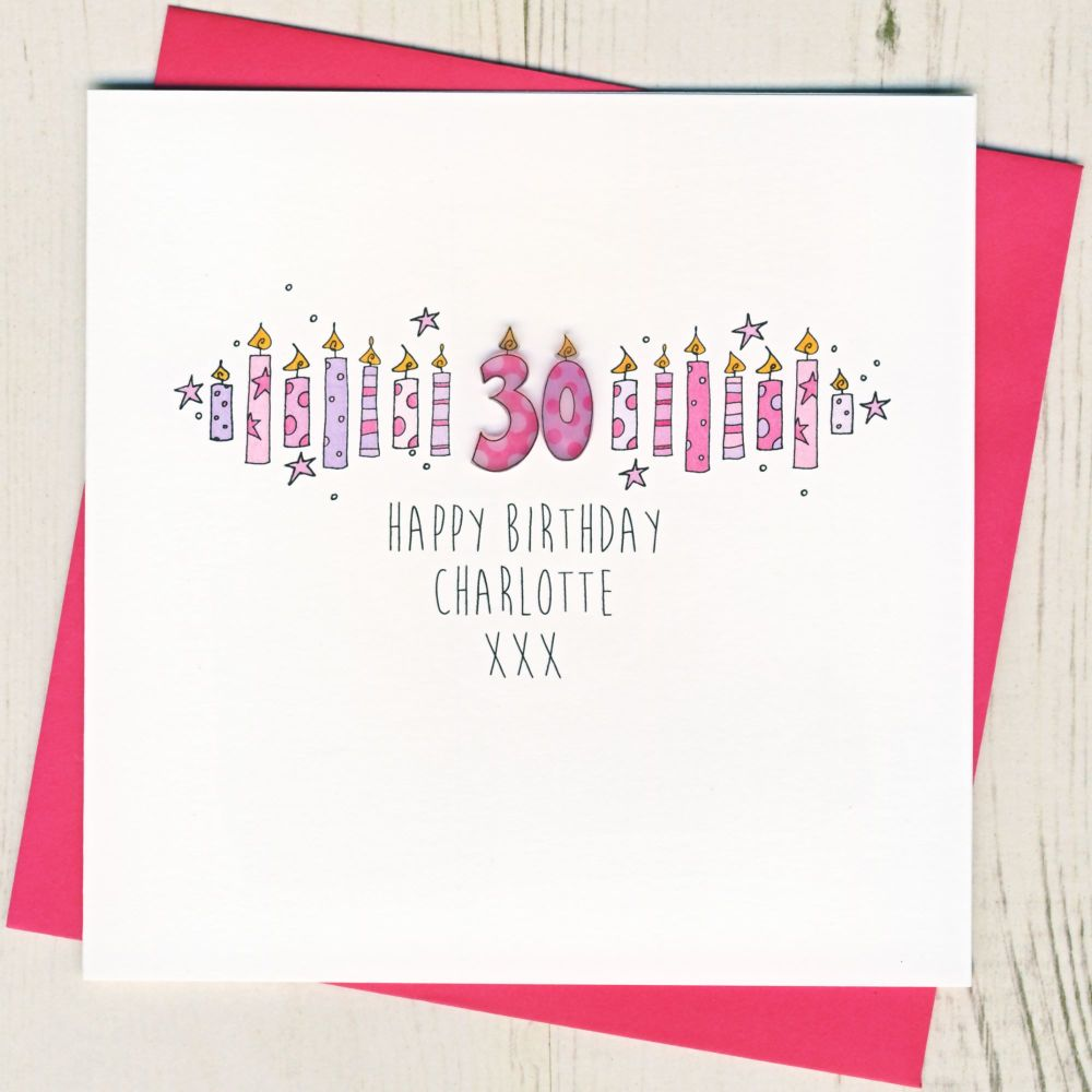 <!-- 001 -->Personalised Pink Age Card