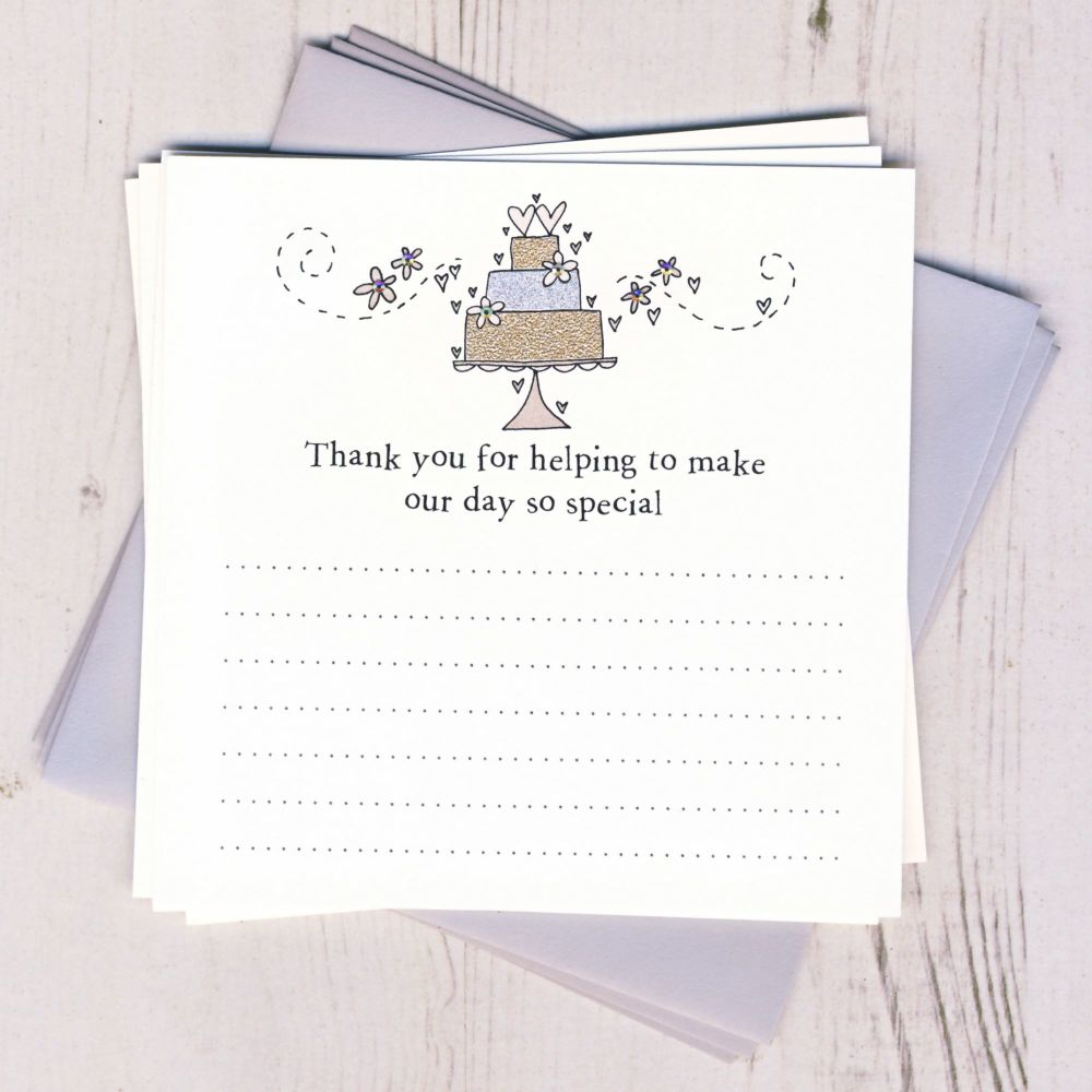 Pack Wedding Cake Thank You Cards