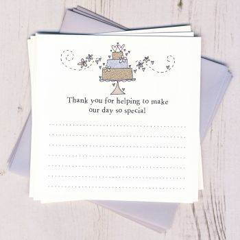 Pack of Wedding Cake Thank You Cards