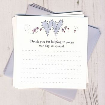 Pack of Wedding Hearts Thank You Cards