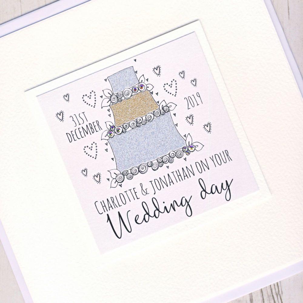 <!-- 004 -->Large Personalised Wedding Cake Card