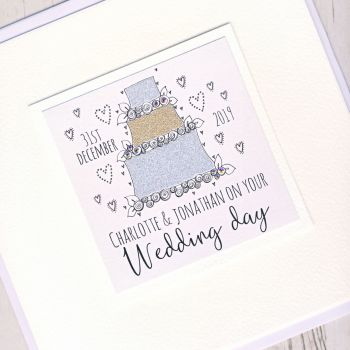Large Personalised Wedding Cake Card