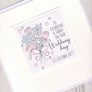 Large Personalised Wedding Flowers Card