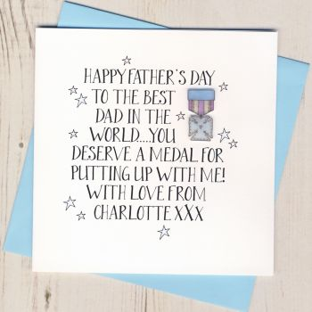 Personalised Father's Day Medal Card