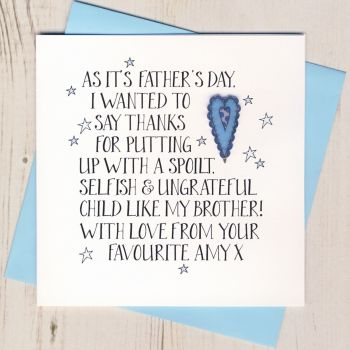 Personalised Thanks Father's Day Card