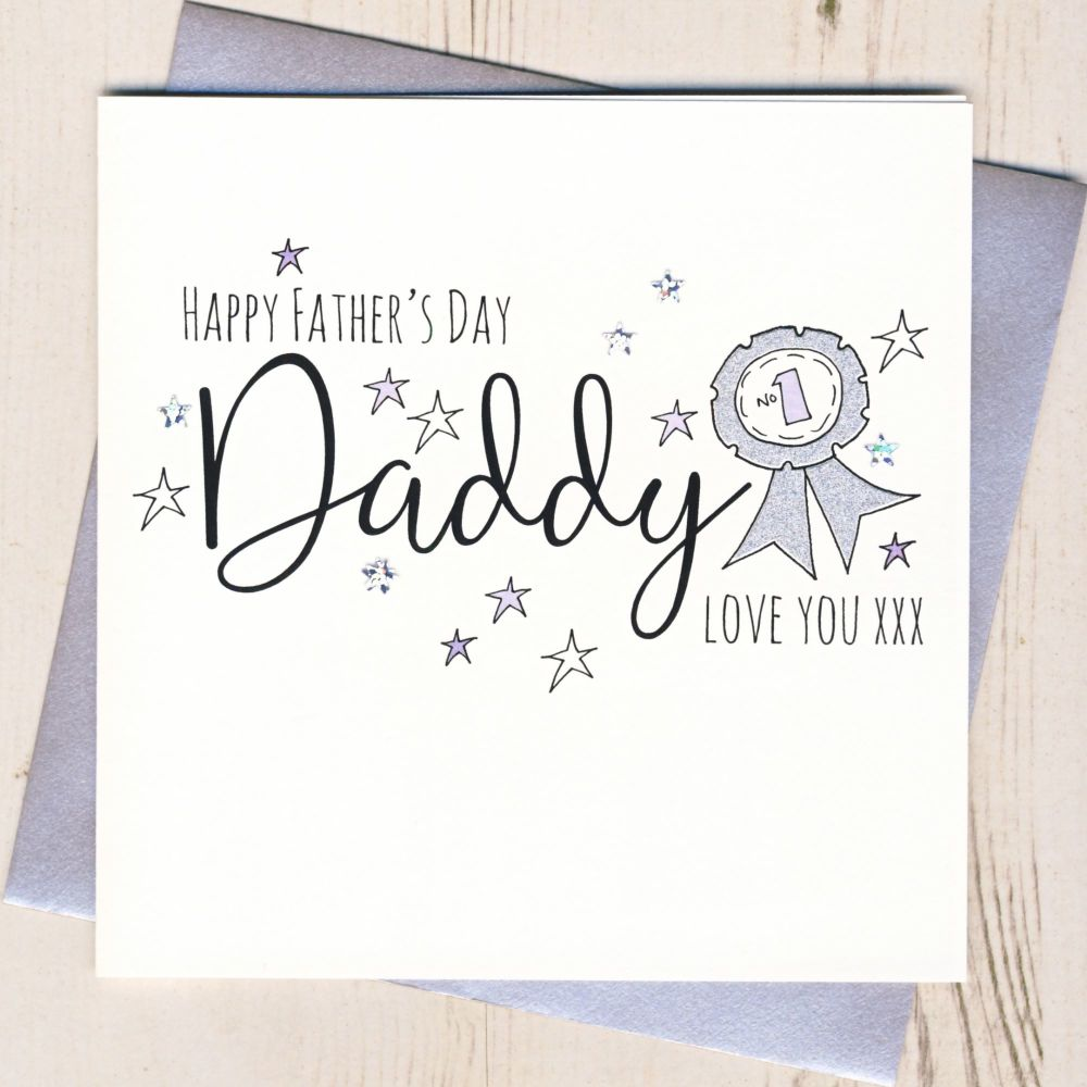 <!-- 001 -->Glittery Daddy Rosette Father's Day Card