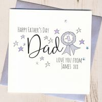 <!-- 001 -->Personalised Glittery Dad Rosette Father's Day Card