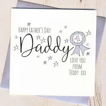 Personalised Glittery Daddy Rosette Father's Day Card