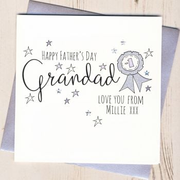 Personalised Glittery Grandad Rosette Father's Day Card