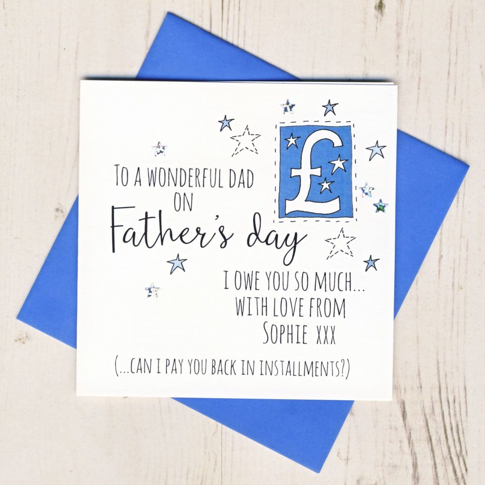 <!-- 006 -->Personalised I Owe You Father's Day Card