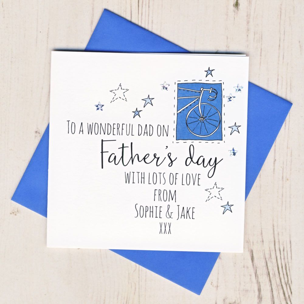 <!-- 008 -->Personalised Bike Father's Day Card