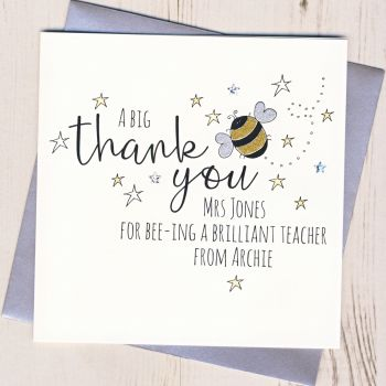 Personalised Bee Teacher Thank You Card