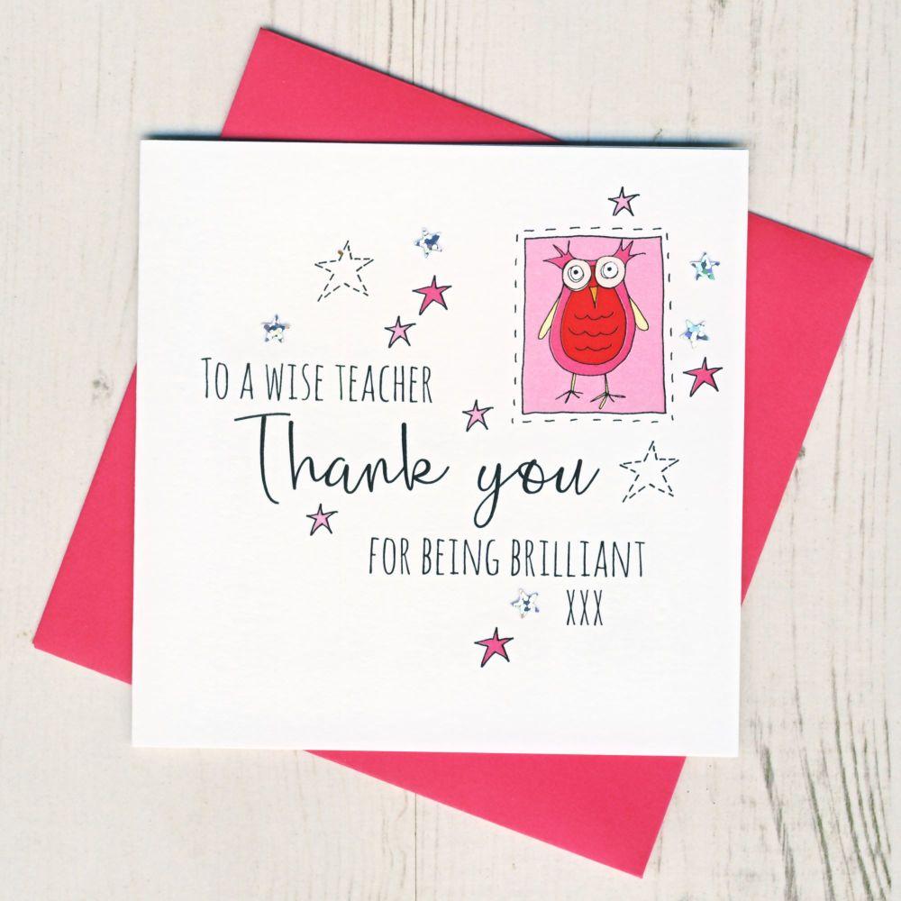 Pink Owl Teacher Thank You Card