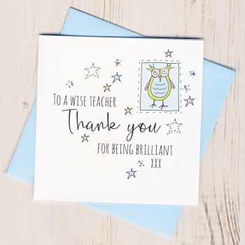 Blue Owl Teacher Thank You Card