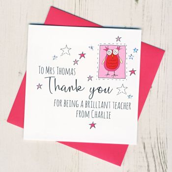 Personalised Owl Teacher Thank You Card