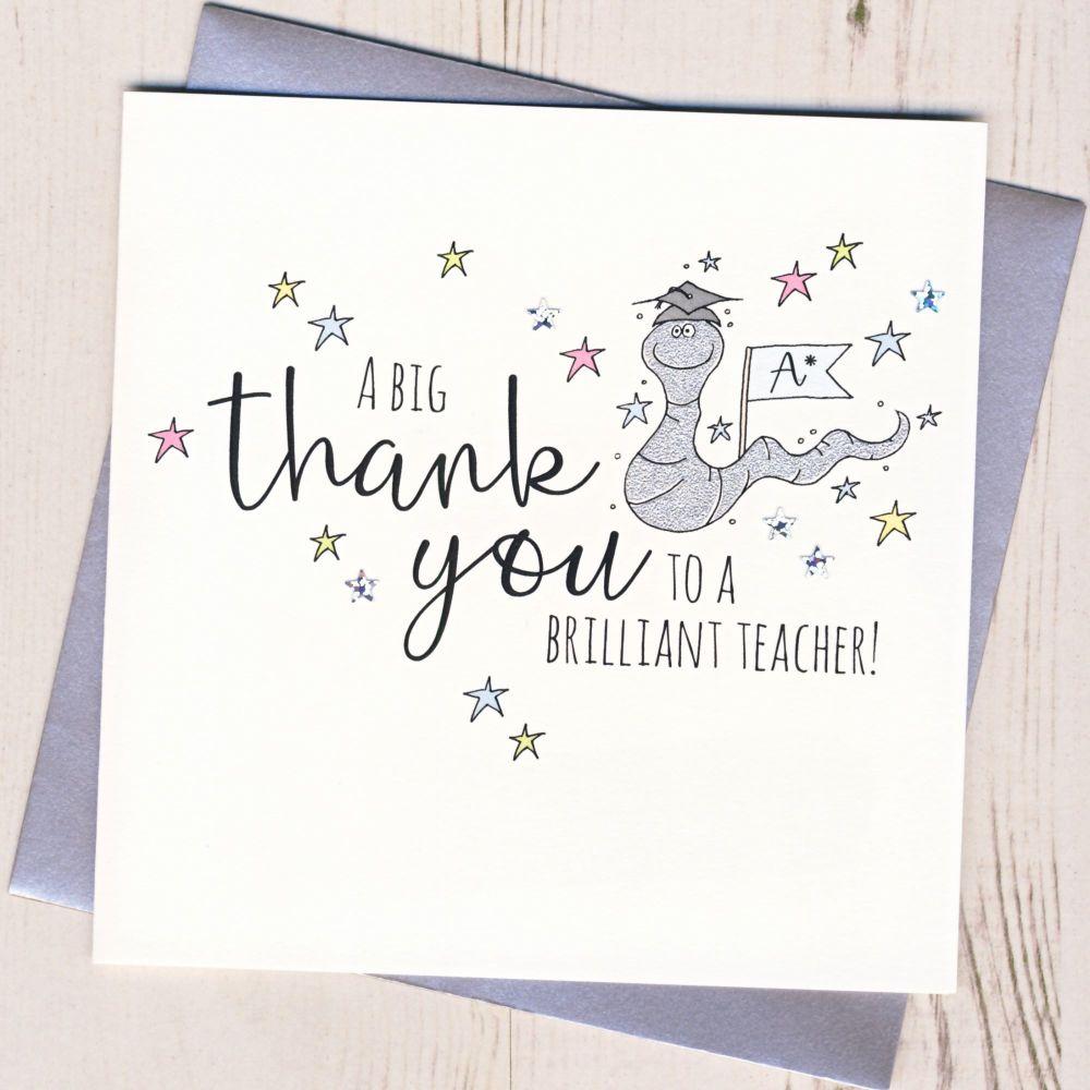 Worm Teacher Thank You Card