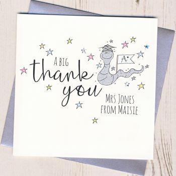 Personalised Worm Teacher Thank You Card