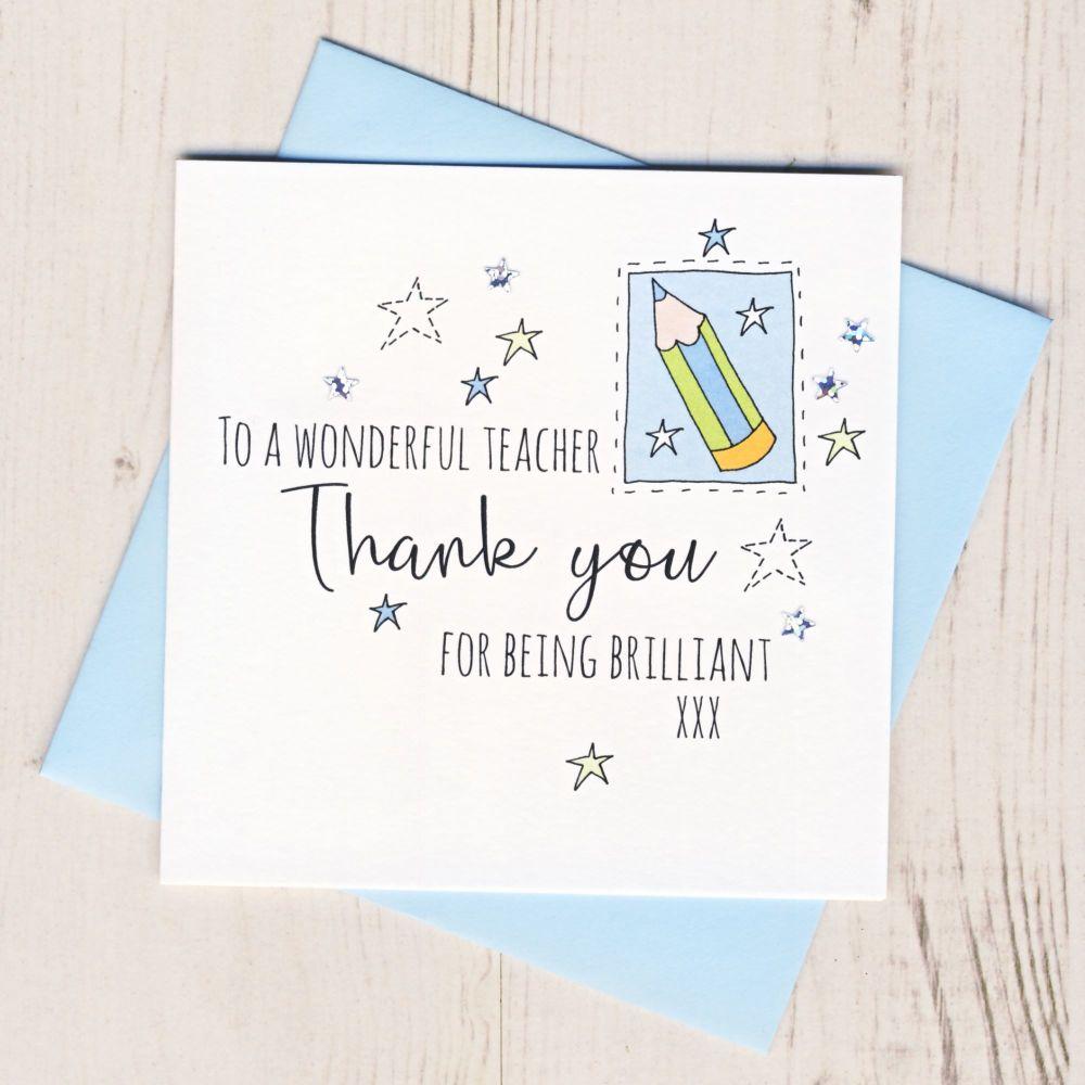 Blue Pencil Teacher Thank You Card