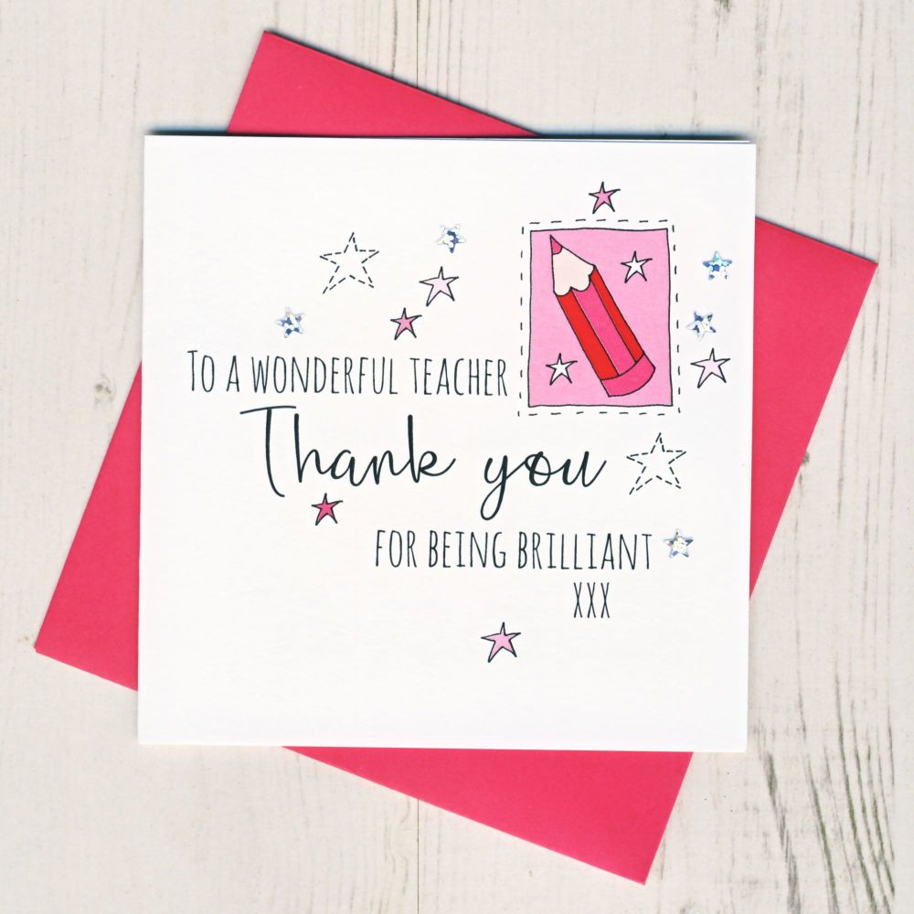<!-- 002 -->Pink Pencil Teacher Thank You Card