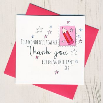 Pink Pencil Teacher Thank You Card