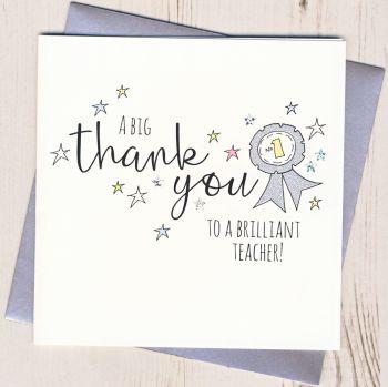 Rosette Teacher Thank You Card