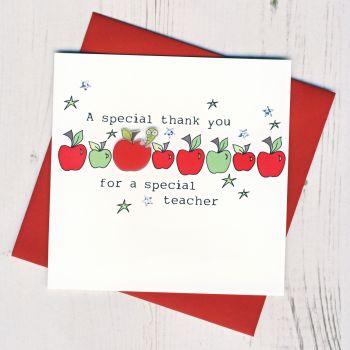 Row of Apples Teacher Thank You Card