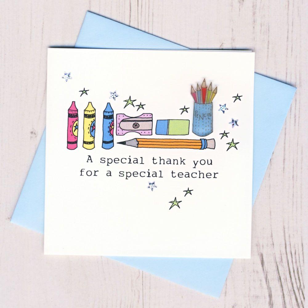 Blue Pencils Teacher Thank You Card