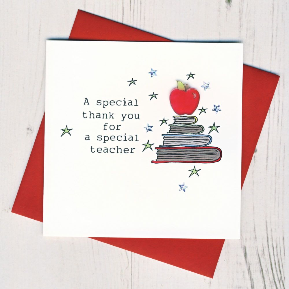 <!-- 007 -->Apple On Books Teacher Thank You Card