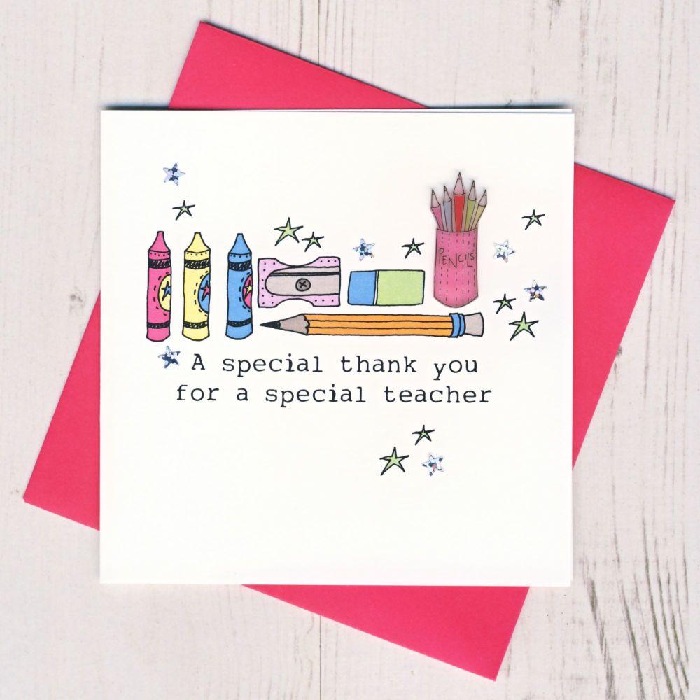 <!-- 008 -->Pink Pencils Teacher Thank You Card