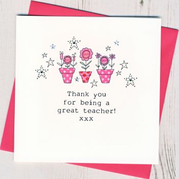 Flowers Teacher Thank You Card
