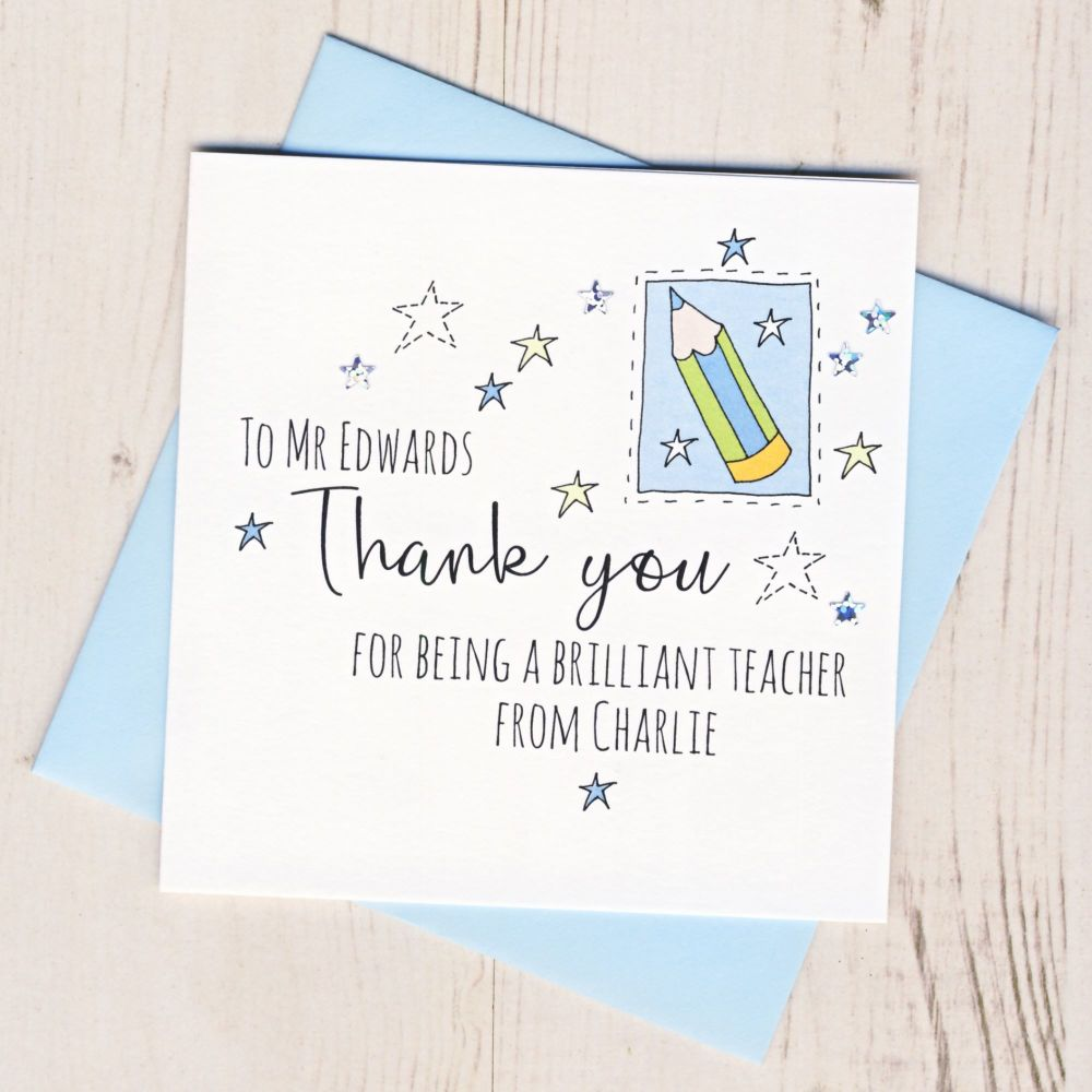 <!-- 002 -->Personalised Pencil Teacher Thank You Card