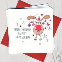 <!-- 012 -->Pack of Five Rudolph Christmas Cards