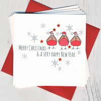<!-- 013 -->Pack of Five Robin Christmas Cards